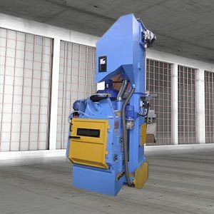 Rubber belt tumbling shot blasting unit