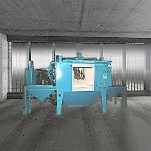 Shuttle table sandblast unit