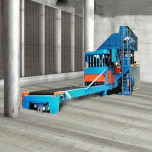 Throughput shot blasting unit