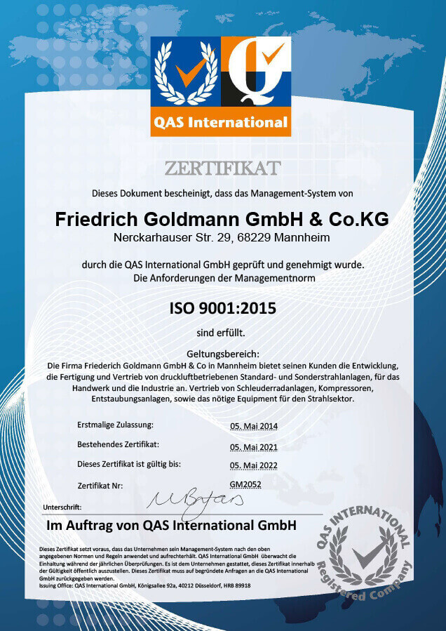 Certificate ISO 9001:2015 2021